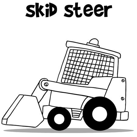 skid: Skid steer for industry cartoon design Illustration