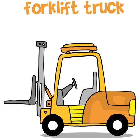 Collection of forklift truck transportation Illustration