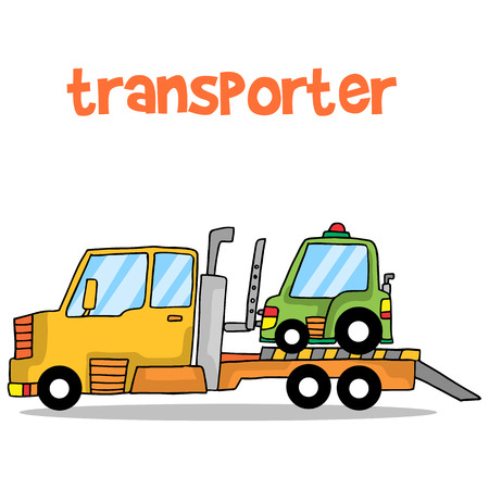 Transporter car of vector art collection stock Illustration