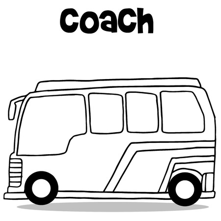 mini loader: Coach bus of transportation vector collection stock