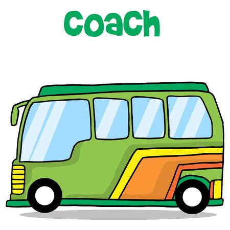 mini loader: Cartoon of coach bus transportation vector illustration