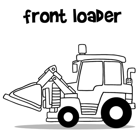 cargador frontal: Front loader with hand draw Vectores