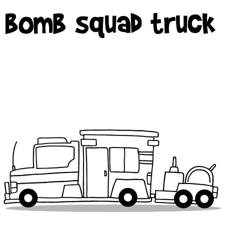 hand truck: Hand draw of bomb squad truck