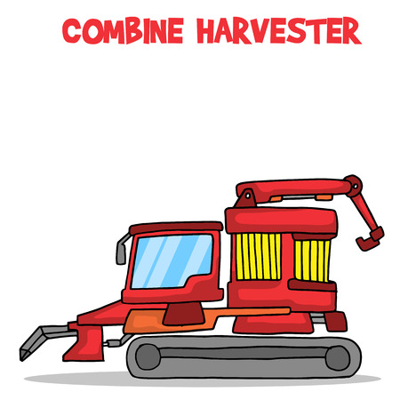 harvester: Cartoon combine harvester vector art collection stock