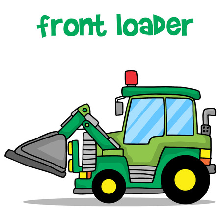 lorry: Cartoon front loader vector art Illustration