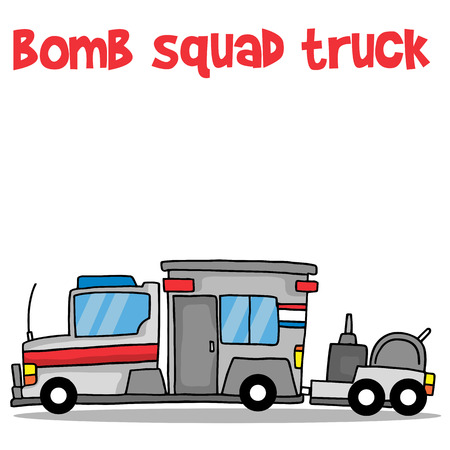 defuse: Bomb squad truck cartoon vector art collection