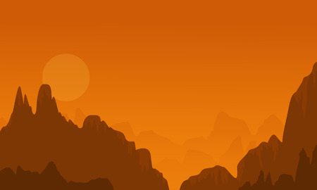 lake sunset: At sunset cliff scenery of silhouettes vector illustration