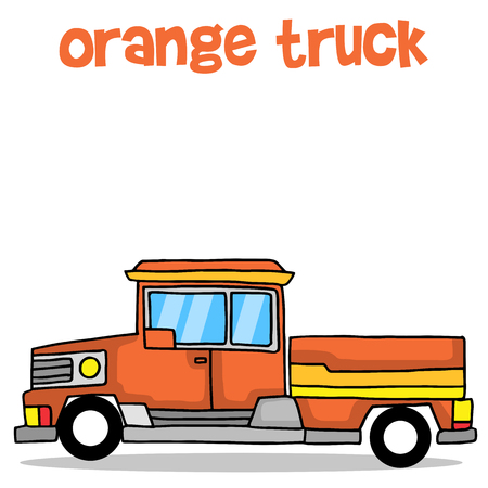 Illustration of orange truck transport collection stock Ilustração