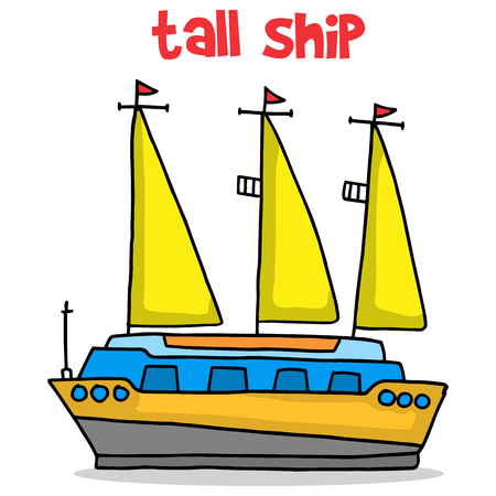 Transport of tall ship cartoon vector art Illustration