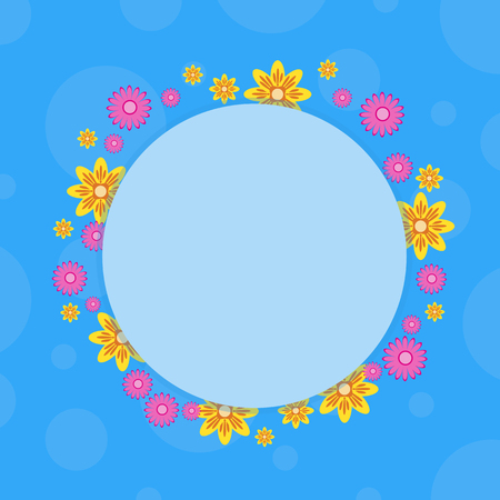 Frame with flower on blue backgrounds