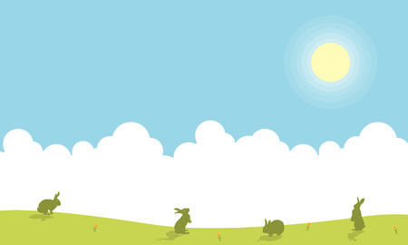Landscape of easter bunny silhouettes