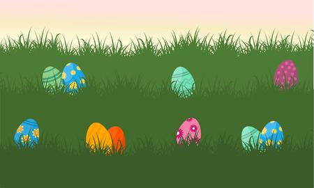 Vector flat of easter egg on grass Illustration