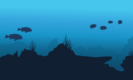silhouette of underwater with coral reef landscape vector art