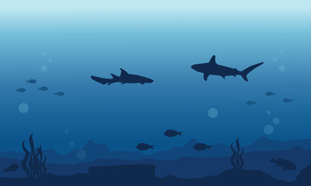 silhouette of fish various background underwater vector art royalty