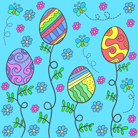 Doodle of easter egg on blue background