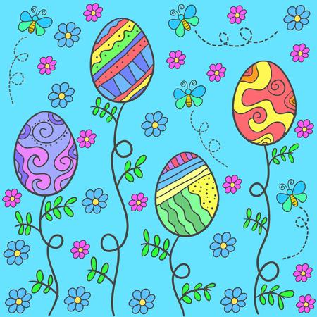 Doodle of easter egg on blue background