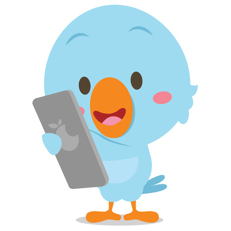 Blue bird with phone vector art Illustration