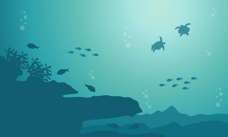 Silhouette of fish and coral reef on sea landscape Vectores