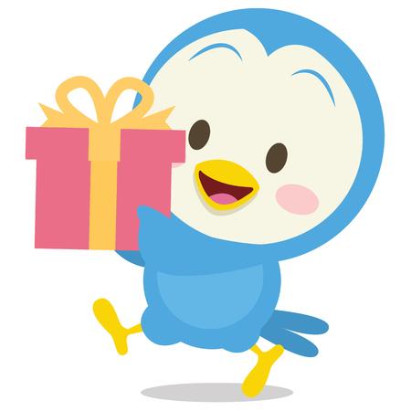 beak pigeon: Dove with gift character stock