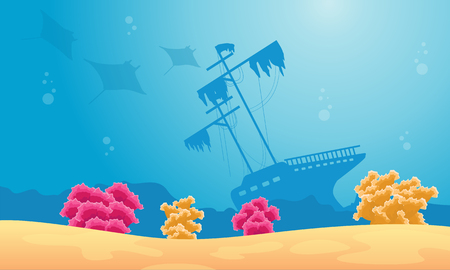 Landscape of underwater with stingray and ship