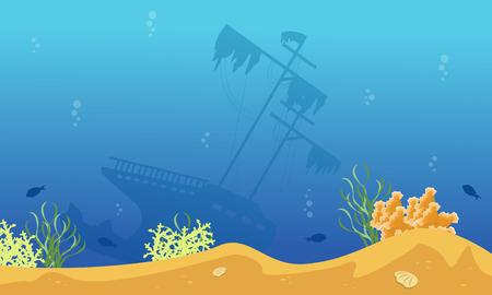 Silhouette of big ship on blue sea landscape