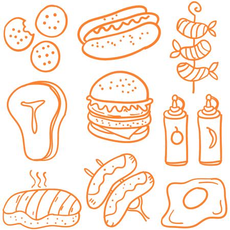 Various foods doodle set.
