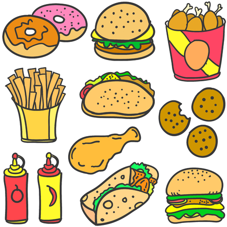 food: Doodle of food various set