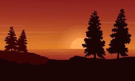 Silhouette of spruce on riverbank landscape Illustration