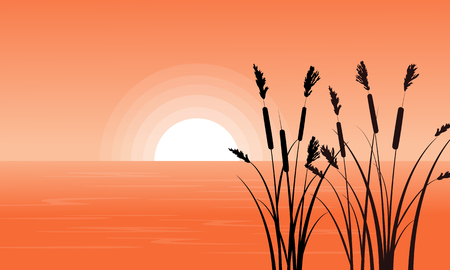 Silhouette of coarse grass on riverbank Illustration