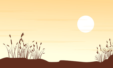 Silhouette of grass on hill landscape Illustration