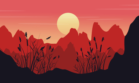 coarse: Silhouette of cliff with coarse grass landscape