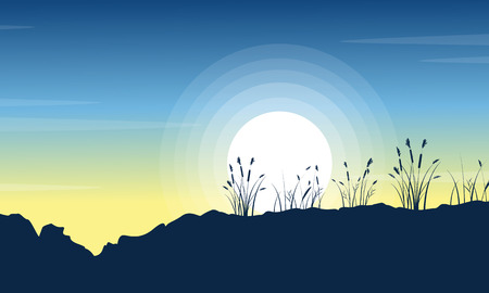 coarse: Silhouette of hill with grass at morning scenery Illustration