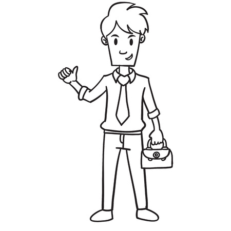 Businessman with bag character hand draw Illustration