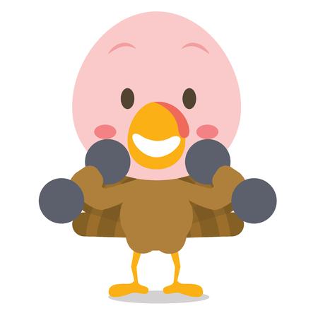 Stronger turkey design style character Illustration