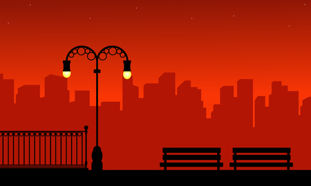 Silhouette of urban and street lamp on red background