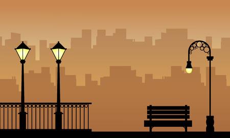Paesaggio di bellezza del lampione con sagome di recinzione