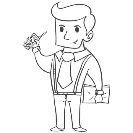 Character of businessman with phone Illustration