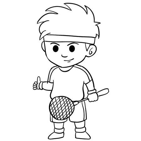 Children playing badminton character style