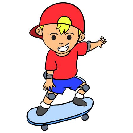 Happy boy playing skateboard character