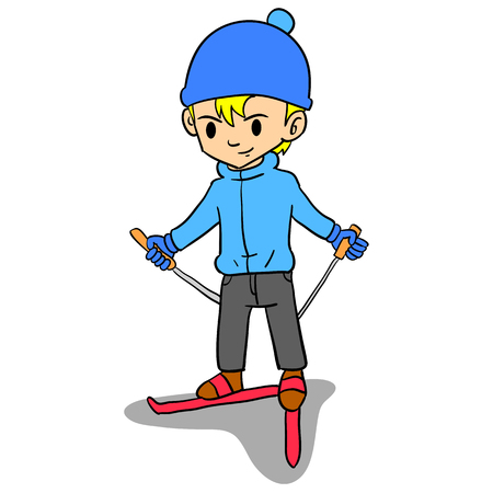 Boy playing ski character style