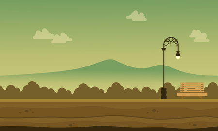 Silhouette of garden beaty landscape background Illustration