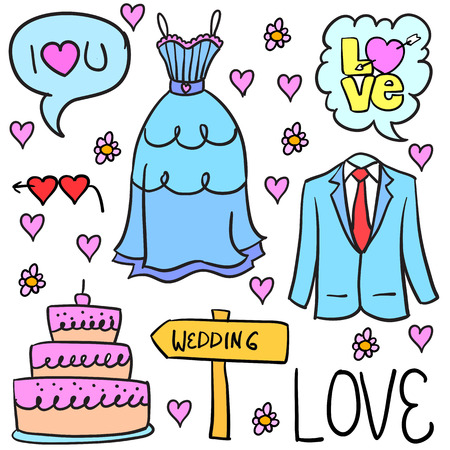Collection stok of wedding element doodles Çizim