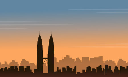malaysia culture: Silhouette of Malaysia city landscape at sunset Illustration