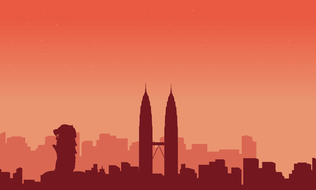 malaysia culture: Landscape city tour Malaysia and Singapore silhouettes Illustration