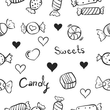 Illustration vectorielle de doodles aux sucreries sucrées