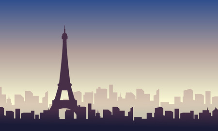 Silhouette of paris skyline scenery Illustration