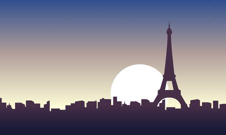 Paris scenery at sunrise landscape vector illustration