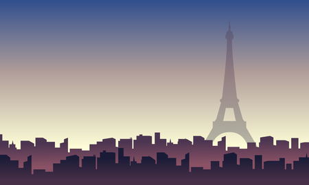 Paris with building city scenery silhouettes