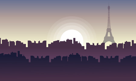 Silhouette of city France with eiffel tower landscape illustration Illustration