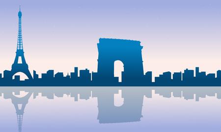 Paris city skyline silhouettes background vector illustration Illustration